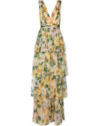 Dolce & Gabbana Bedruckte Robe aus Seidenchiffon - Gelb