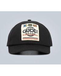 Gucci Cappello con applicazione Worldwide - Nero