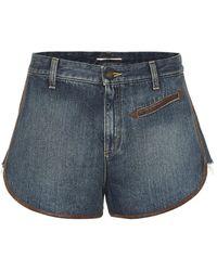 Saint Laurent Shorts mit Lederdetails - Blau