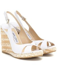 Jimmy Choo Amely Canvas Platform Wedge Sandals - White