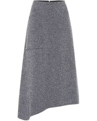 Tibi Asymmetric Midi Skirt - Grey