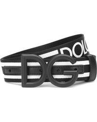 Dolce & Gabbana Dg Leather-trimmed Belt - Black