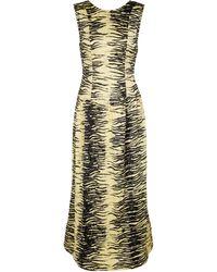 Ganni Tiger-print Satin Midi Dress - Yellow