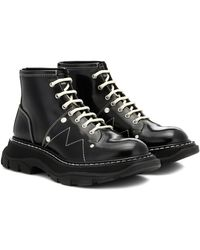 Alexander McQueen Tread Exaggerated-sole Leather Ankle Boots - Black