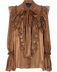 Costarellos Blusa de georgette plisada - Metálico