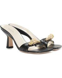 Gucci Tiger Head Sandals - Black