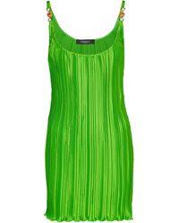 Versace Plissiertes Minikleid aus Satin - Grün