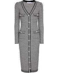 Self-Portrait Striped Cotton-blend Cardigan - Black