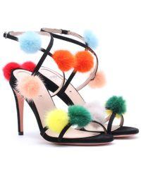 Fendi | Fur-trimmed Suede Sandals | Lyst