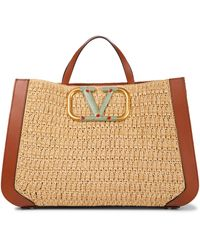 Valentino Garavani Exclusive To Mytheresa – Supervee Crochet Raffia Tote - Natural