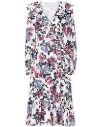 Erdem Jerridine Satin-jacquard Wrap Dress - White