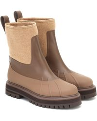 Loro Piana Regent Leather And Cashmere Ankle Boots - Brown