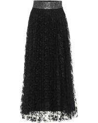 Christopher Kane Falda midi de encaje con adornos - Negro