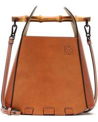 Loewe Bucket-Bag Bamboo aus Leder - Braun