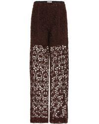 Chloé Floral Lace Straight Leg Trousers - Brown