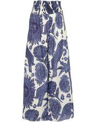 Johanna Ortiz La Esperanza Printed Cotton Trousers - Blue