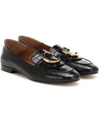 Chloé C Croc-effect Leather Loafers - Black
