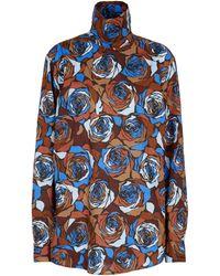 Dries Van Noten Blouse florale en coton - Bleu