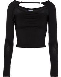 Jacquemus Le T-shirt Lucciu Stretch-jersey Top - Black