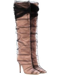 Jimmy Choo X Off-white Elisabeth 100 Tulle And Satin Boots - Black