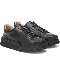 Jil Sander Leather Platform Sneakers - Black