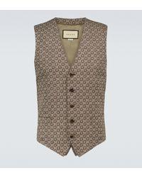 Gucci Monogrammed Wool Vest - Brown