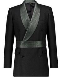 Dolce & Gabbana Exklusiv bei Mytheresa – Blazer aus Jacquard mit Gürtel - Schwarz