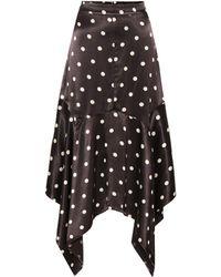 Ganni - Dot Print Asymmetric Skirt - Lyst