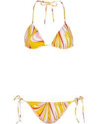 Emilio Pucci Printed Triangle Bikini - Yellow