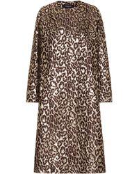 Rochas Oxford Leopard Brocade Coat - Brown