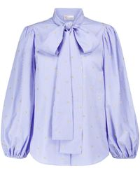 RED Valentino Stretch-cotton Blouse - Blue