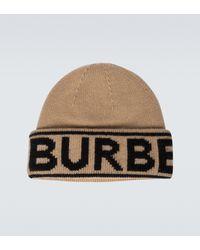 Burberry Logo Intarsia Cashmere Beanie - Natural