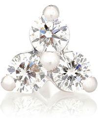 Maria Tash Einzelner Ohrring Trinity Large aus 18kt Weißgold mit Diamanten - Mehrfarbig