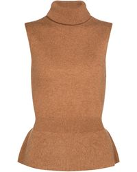 Veronica Beard Noor Cashmere Sweater Vest - Brown