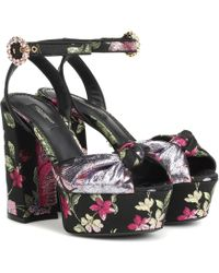 Dolce & Gabbana - Sandalias de brocado de plataforma - Lyst