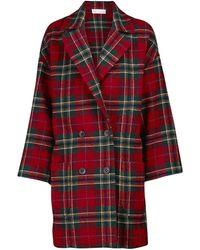 RED Valentino Abrigo de doble botonadura a cuadros de lana - Rojo