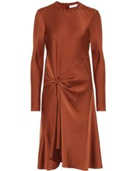 Chloé Satin Crêpe Dress - Brown