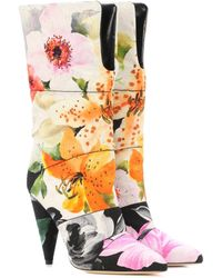 Jimmy Choo X Off-white Sara 100 Floral Jacquard Boots - Multicolor