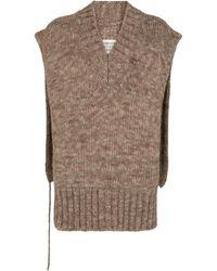 Maison Margiela Pull sans manches en alpaga, coton et laine - Gris