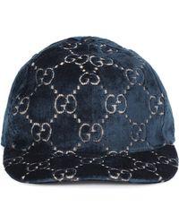 12621ca1 GG Velvet Baseball Cap - Blue