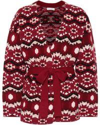 Altuzarra Printed Cashmere Reversible Wrap Kimono Jumper - Red