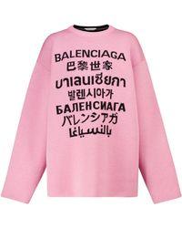 Balenciaga Jersey Languages de lana elastizada - Rosa