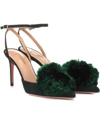 Aquazzura - Powder Puff Sling 85 Suede Court Shoes - Lyst