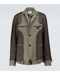 Sacai Bi-fabric Single-breasted Blazer - Green