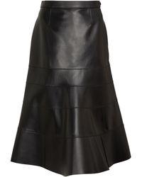 Loewe Godet Flared Leather Skirt - Black