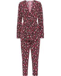 Stella McCartney Mono de seda floral - Rosa