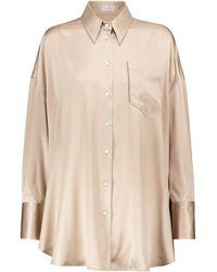 Brunello Cucinelli Stretch-silk Satin Shirt - Natural