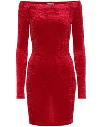 Balenciaga Vestido corto de terciopelo - Rojo