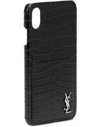 Saint Laurent Coque pour iPhone XS Max en cuir embossé - Noir