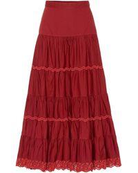 Ulla Johnson Fleet Cotton Maxi Skirt - Red